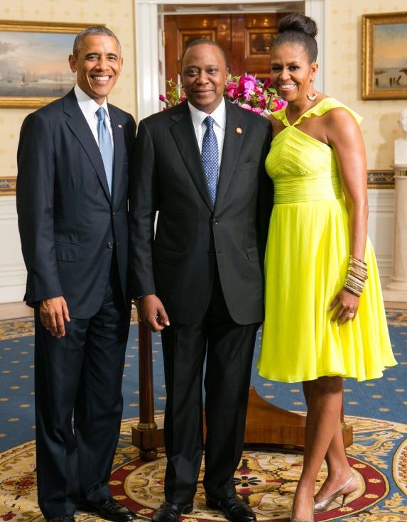 The Obama's with the President of Kenya
